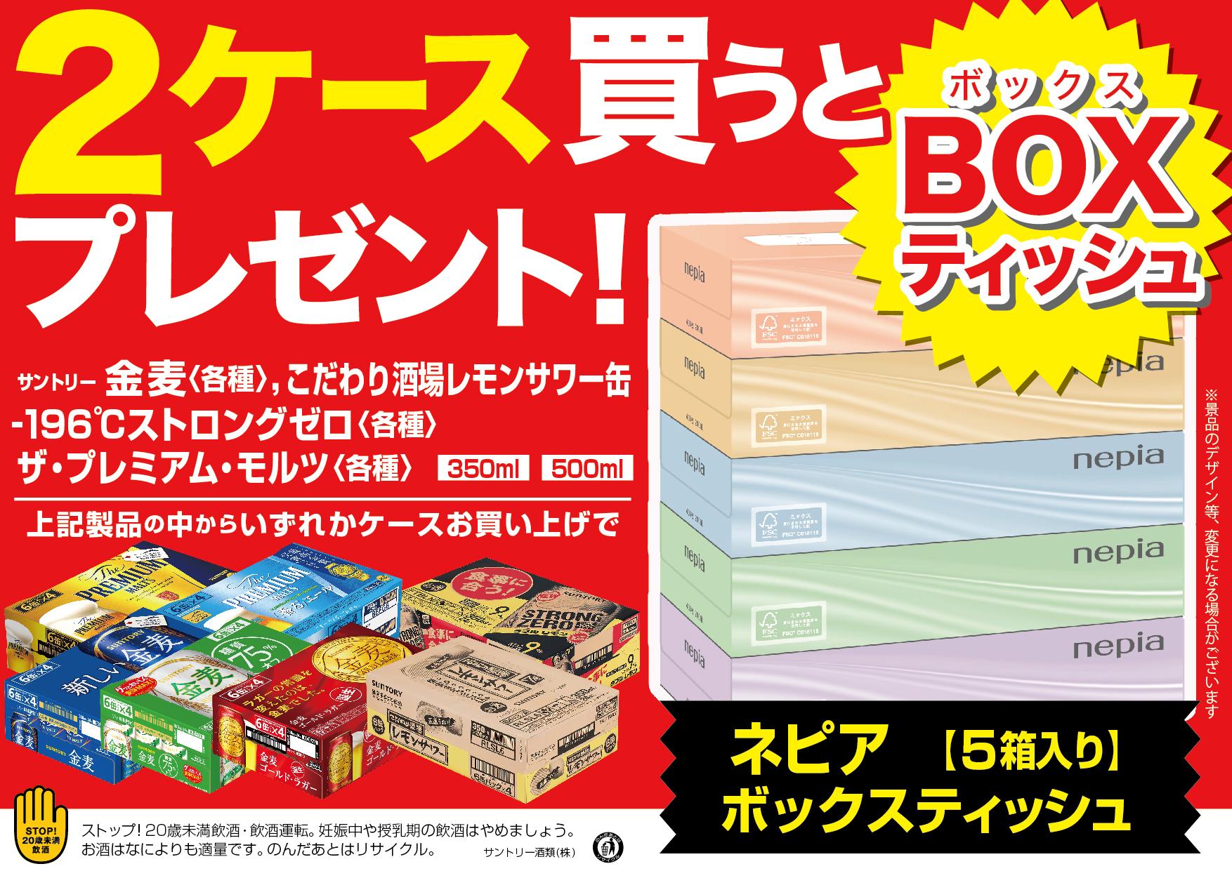 ネピアBOXティッシュ(5箱組)プレゼント