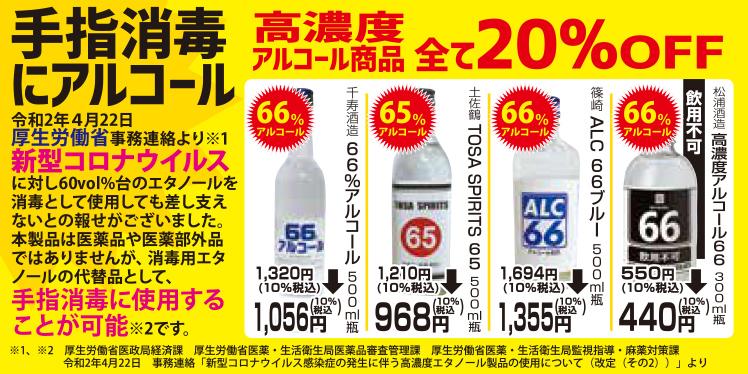 ☆手指消毒に66%アルコール!20%引きでお買い得☆